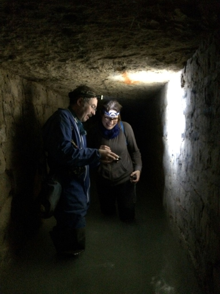 Gilles Thomas teaching me the history of the catacombs, inscription by inscription.